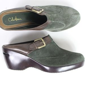 Cole Haan Nike Air hunter green suede mules EUC
